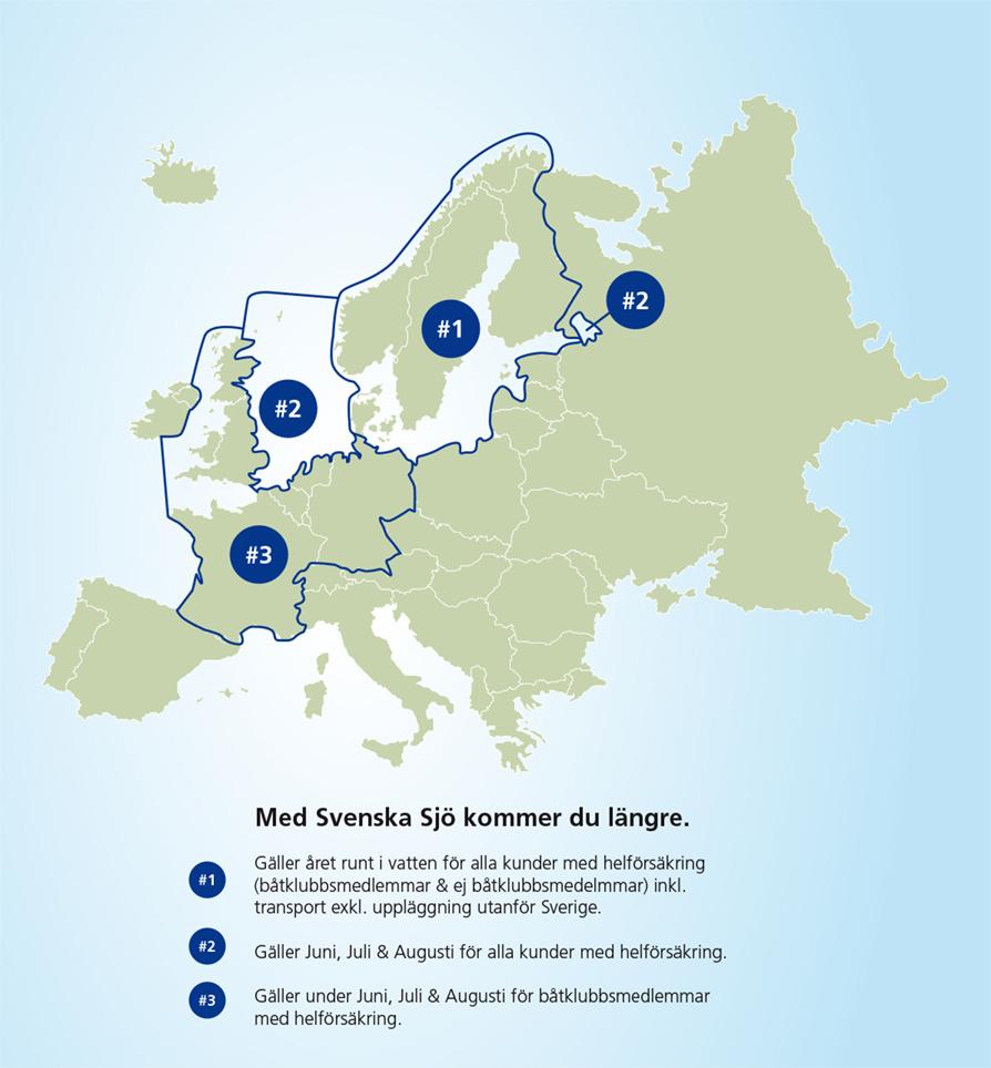 Karta över försäkringsområde för olika försäkringar hos Svenska Sjö